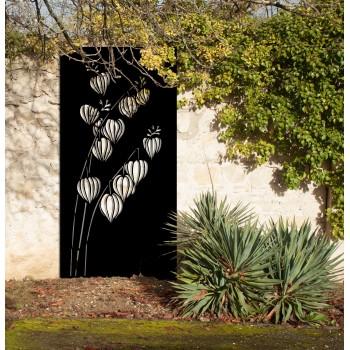 brise-vues fleur corten noir graphite - Décor Acier