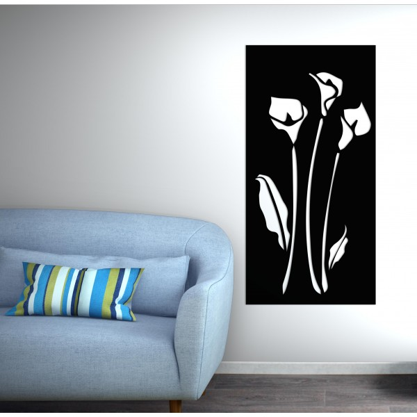 panneau mural fleur corten noir graphite - Décor Acier