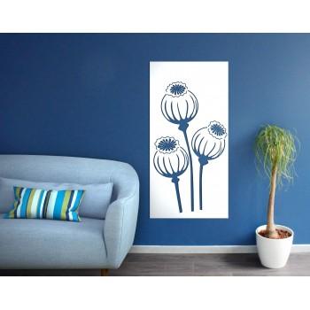 panneau mural fleur corten blanc - Décor Acier