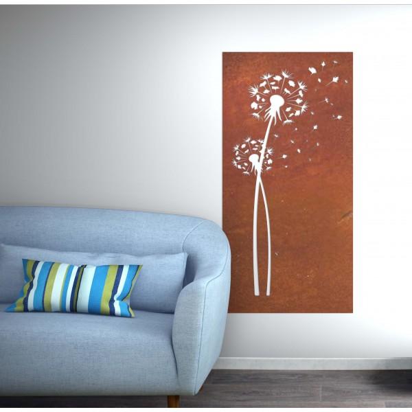 panneau mural fleur corten rouille - Décor Acier