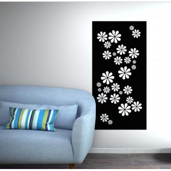 panneau mural fleur corten noir - Décor Acier