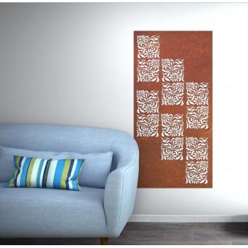 Panneau mural Square corten marron- Décor Acier
