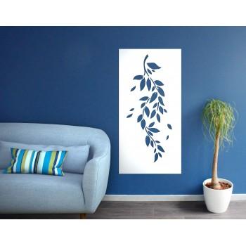 Panneau mural motif branche corten blanc - Décor Acier