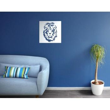 tableau métal motif lion blanc - Décor Acier