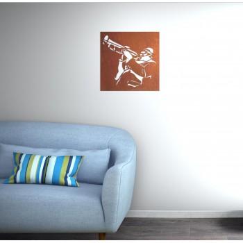 tableau métal motif jazz aluminium rouille - Décor Acier