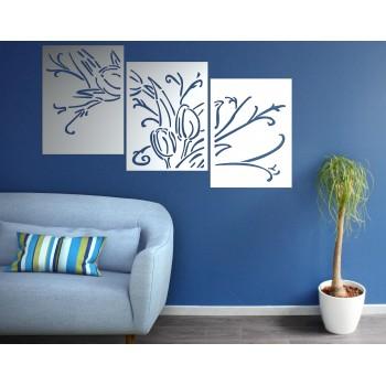 triptyque motif fleur aluminium blanc - Décor Acier