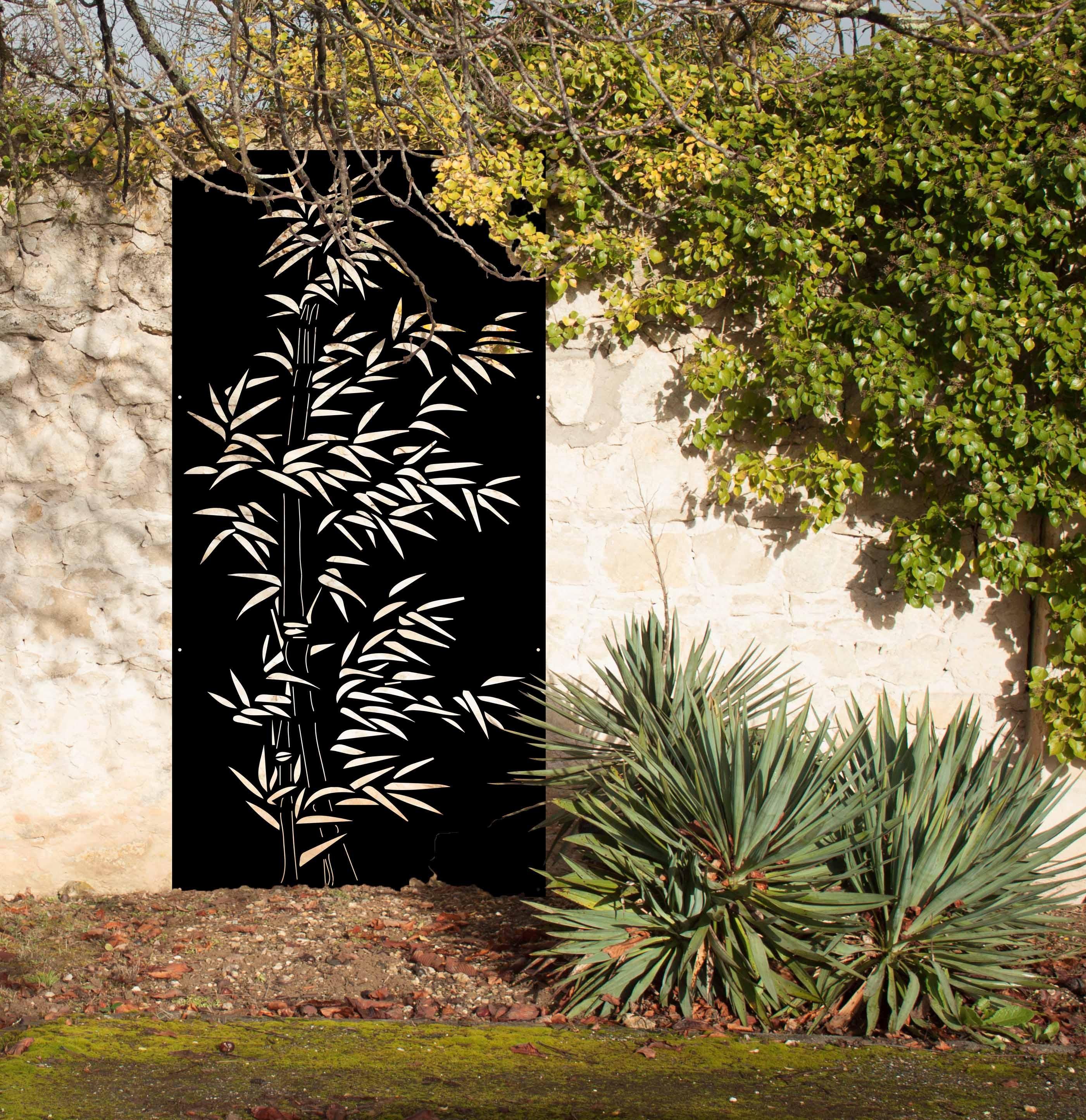 Brise Vue Jardin Japonais bambou, panneau mural design industriel. panneaux métal et