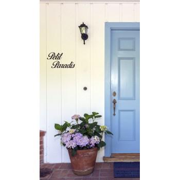 Petit Paradis, lettres décoratives en acier pour extérieur