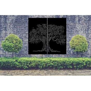 Brise-vue d'extérieur en aluminium au motif Cerisier Japonais, pare-vue style Japon